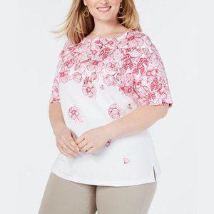 NWT Karen Scott T-Shirt Floral Pink 2X